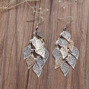 Gold & Silver Toned Filigree Leaves Earrings